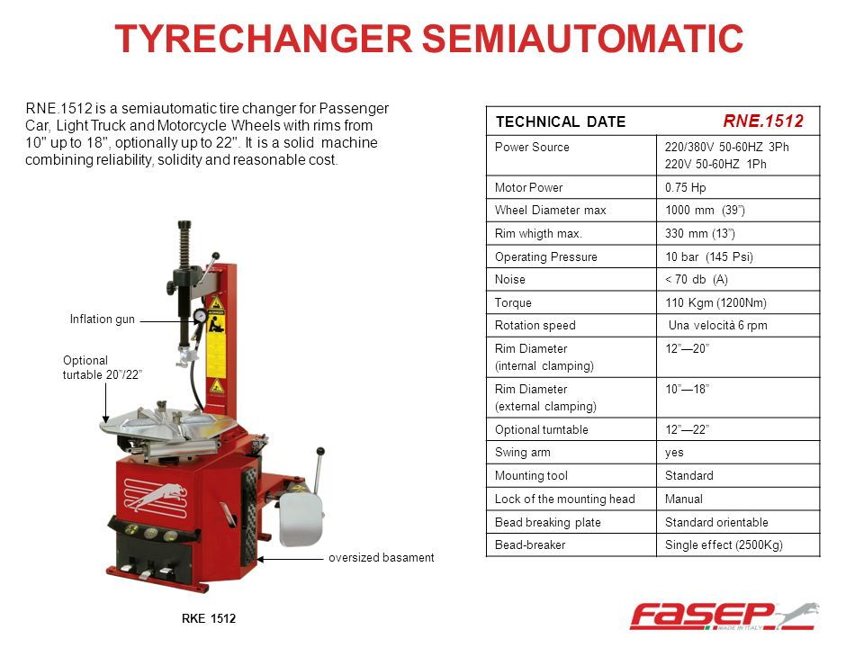 TYRECHANGER SEMIAUTOMATIC