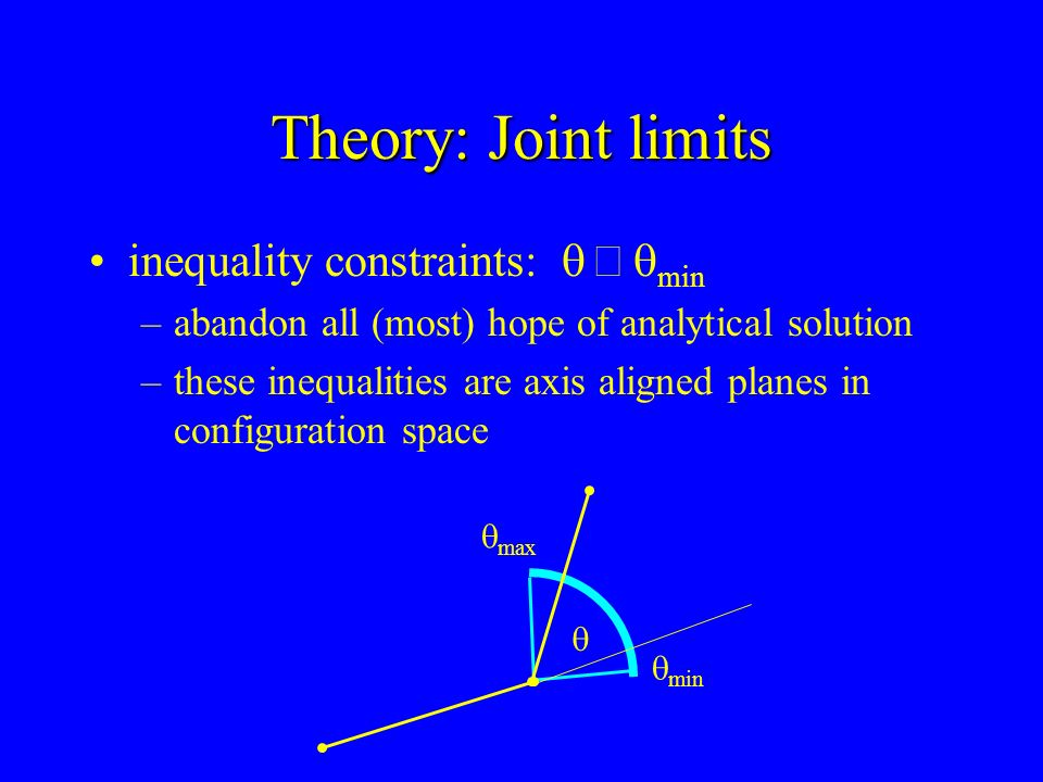 Theory: Joint limits inequality constraints: q ³ qmin