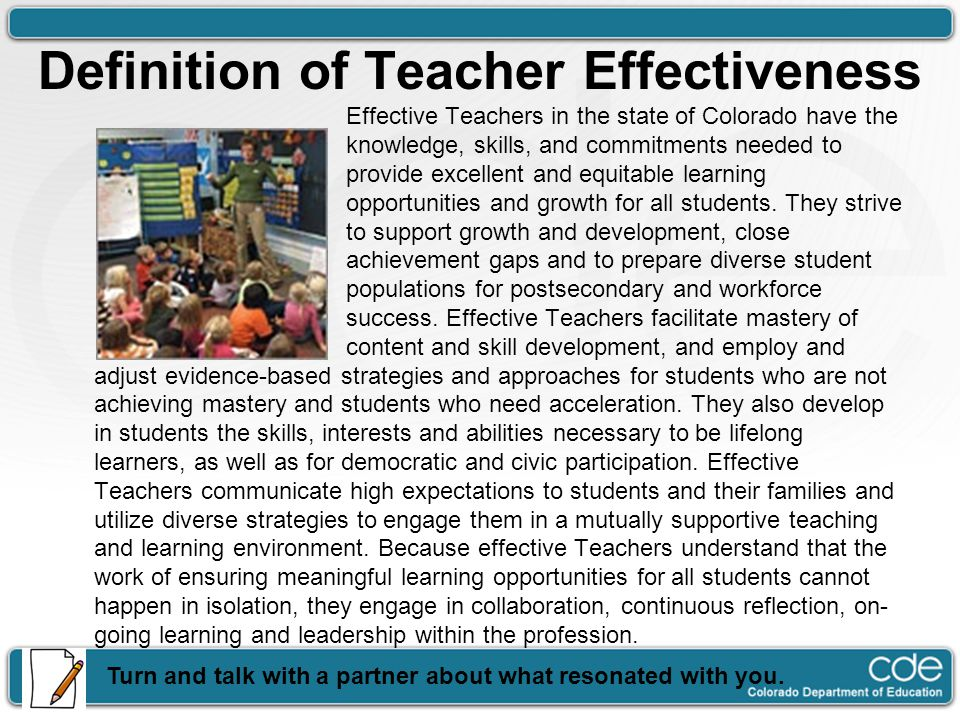 Definition of Teacher Effectiveness