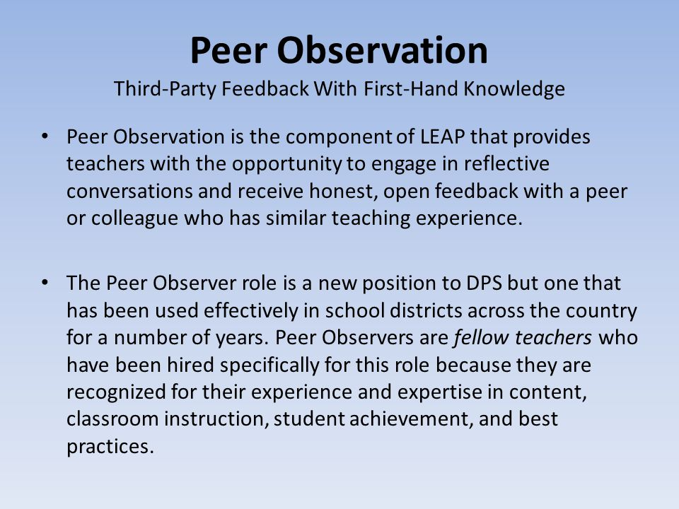 Peer Observation Third-Party Feedback With First-Hand Knowledge