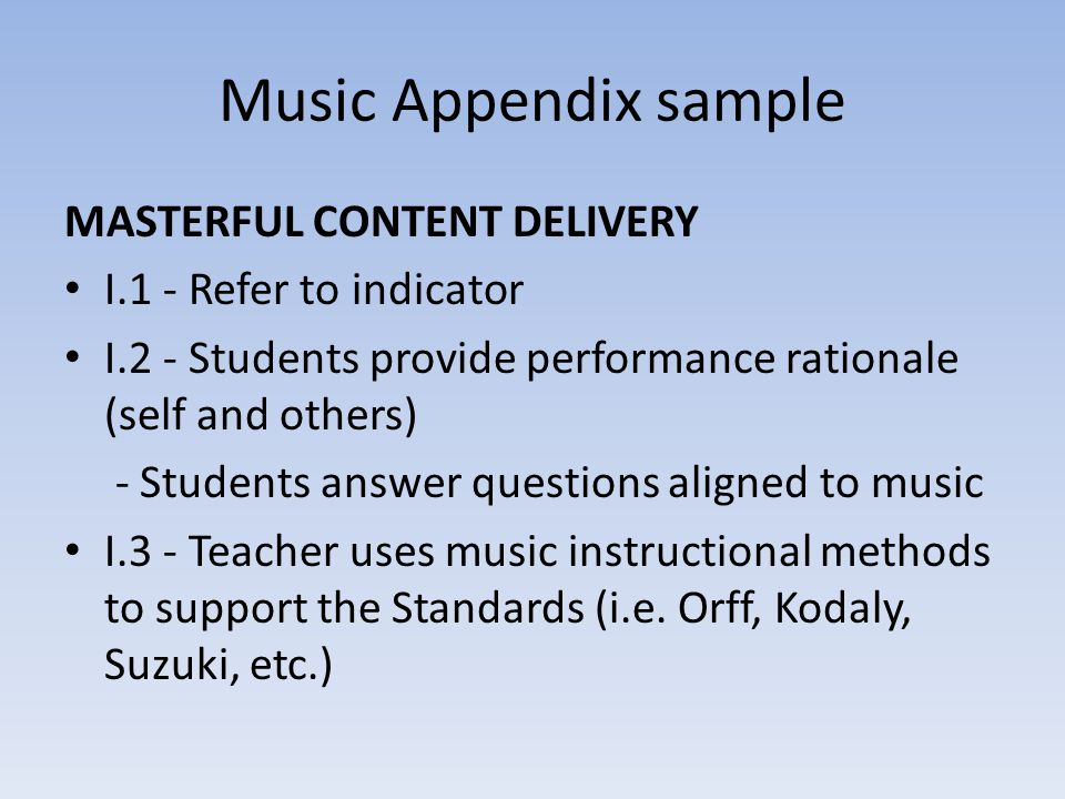 Music Appendix sample Masterful Content delivery