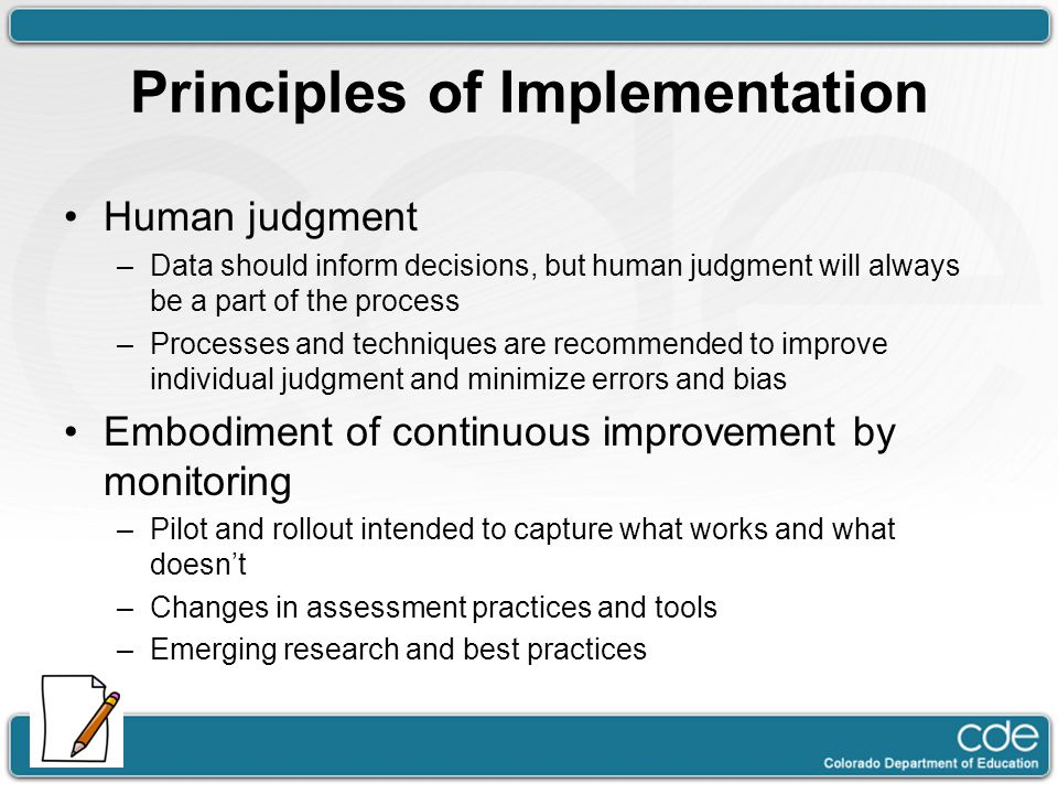 Principles of Implementation