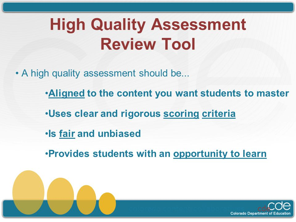 High Quality Assessment Review Tool