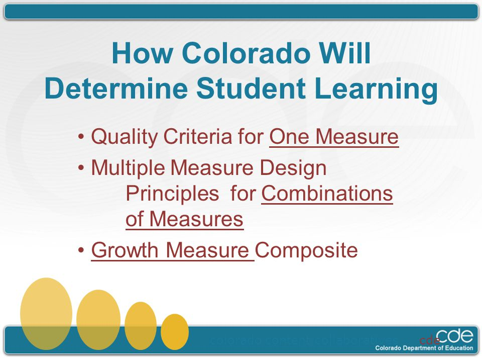 How Colorado Will Determine Student Learning