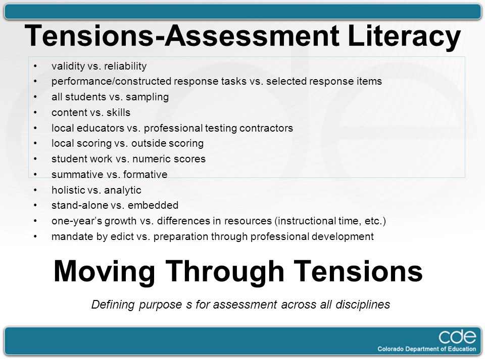 Tensions-Assessment Literacy