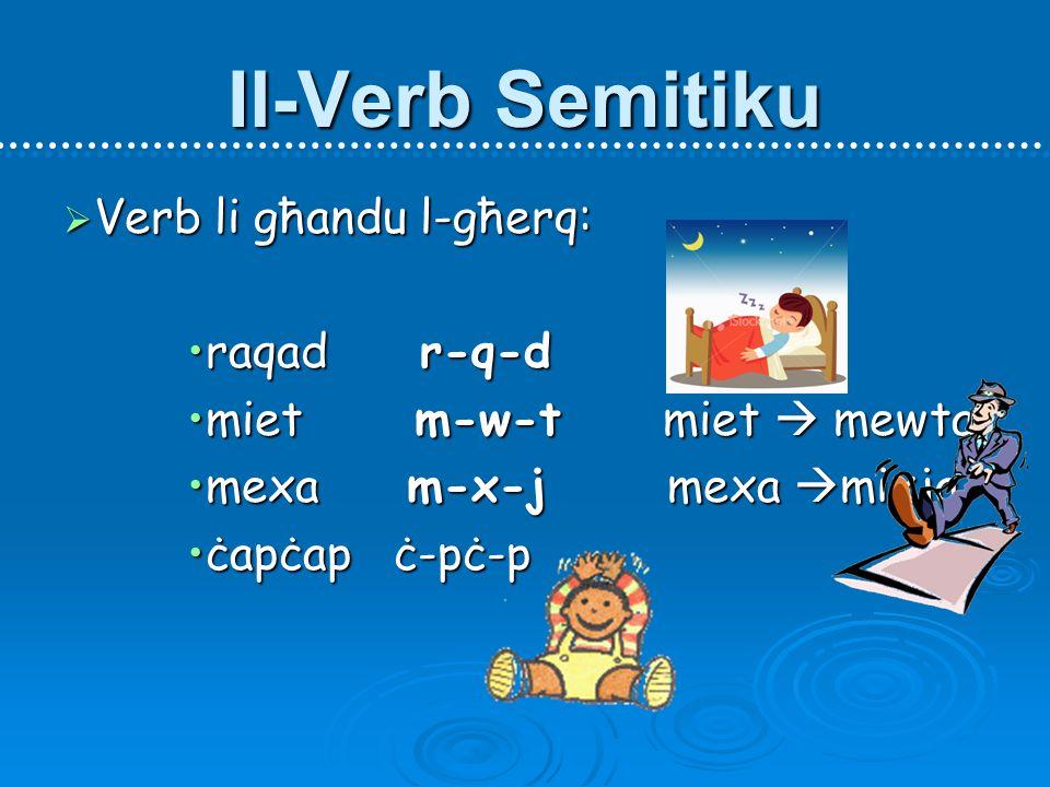 Il-Verb Semitiku Verb li għandu l-għerq: raqad r-q-d