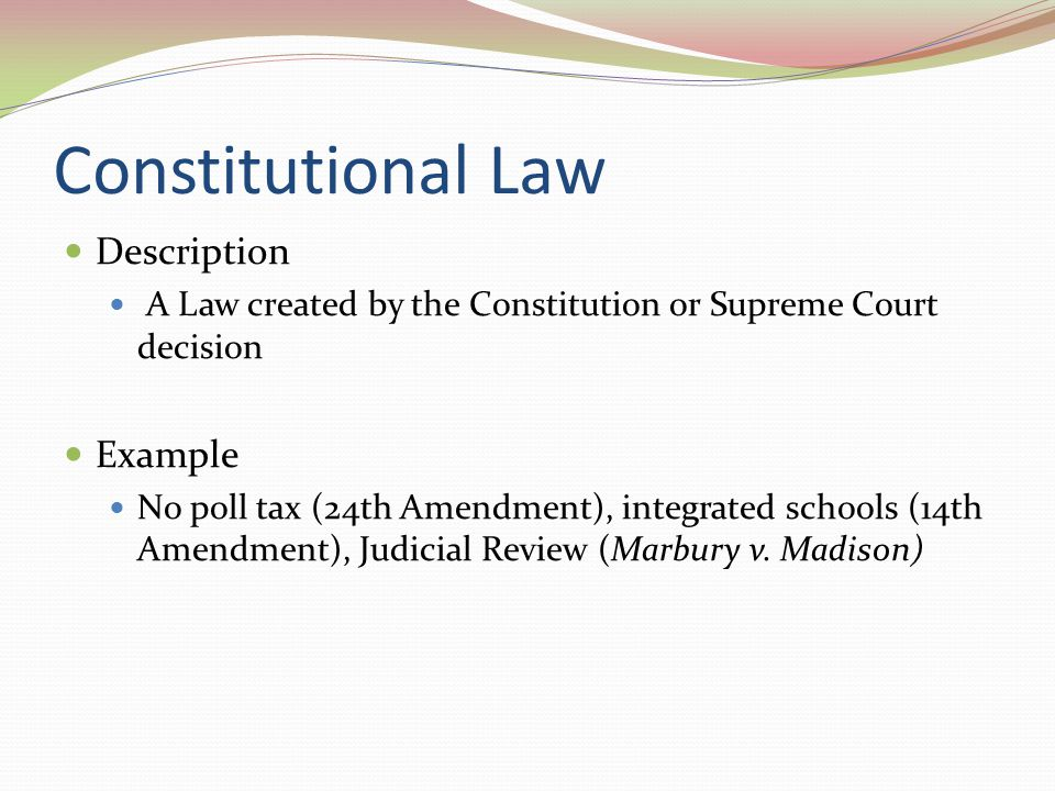 Constitutional Law Description Example