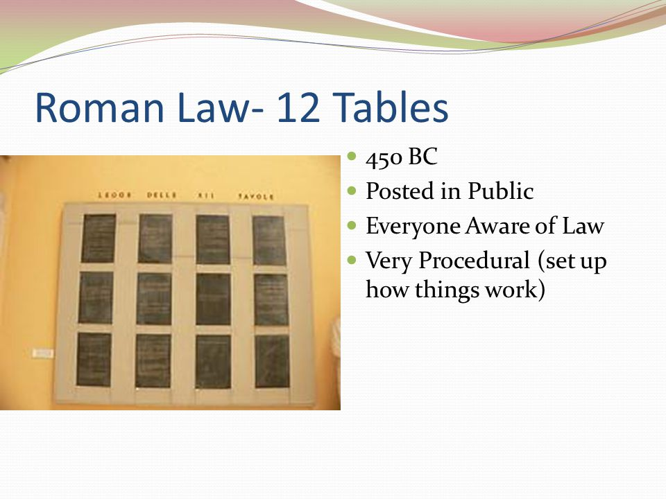 Roman Law- 12 Tables 450 BC Posted in Public Everyone Aware of Law