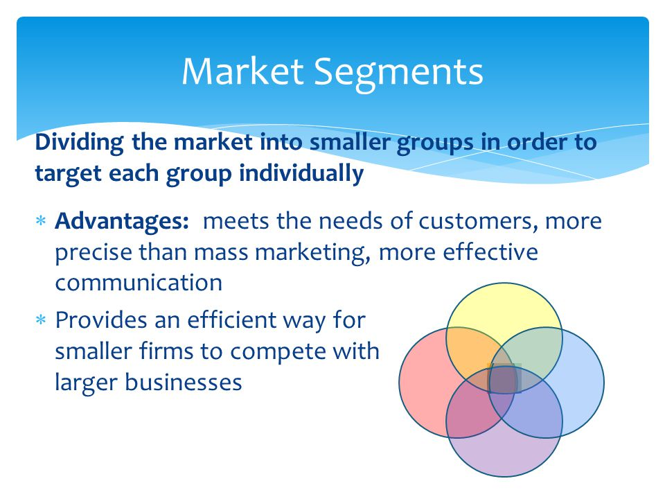 Market Segments Dividing the market into smaller groups in order to target each group individually.