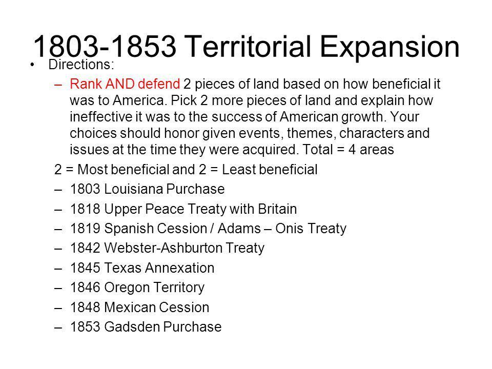 1803-1853 Territorial Expansion