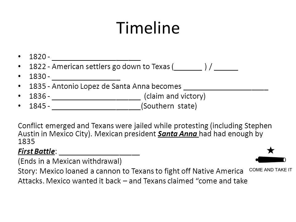 Timeline 1820 - ______________________