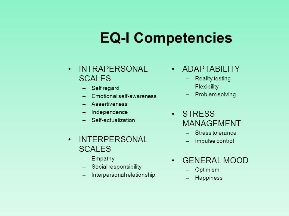 EQ-I Competencies INTRAPERSONAL SCALES INTERPERSONAL SCALES