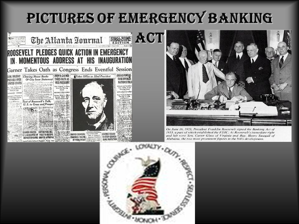 Pictures of Emergency Banking Act