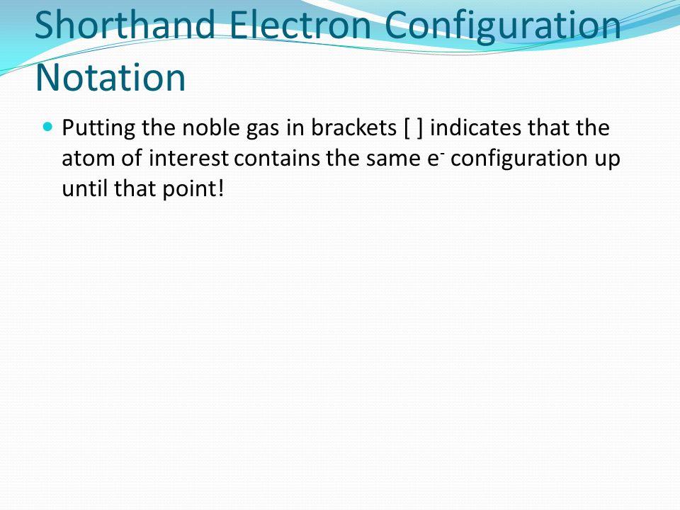 Shorthand Electron Configuration Notation