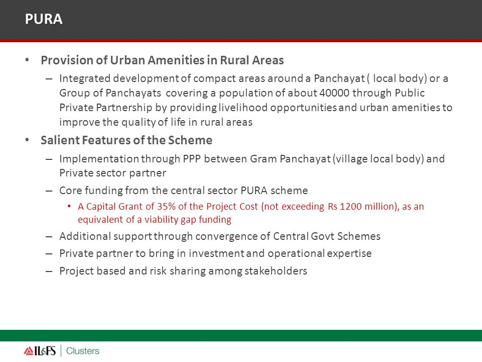 PURA Provision of Urban Amenities in Rural Areas