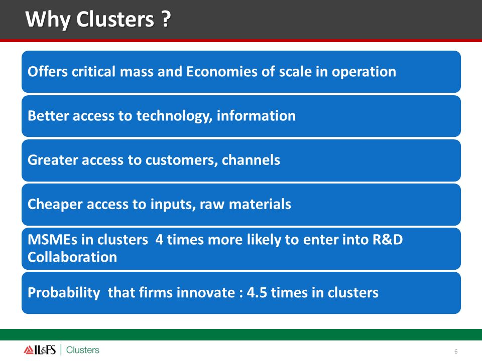 Why Clusters Offers critical mass and Economies of scale in operation. Better access to technology, information.
