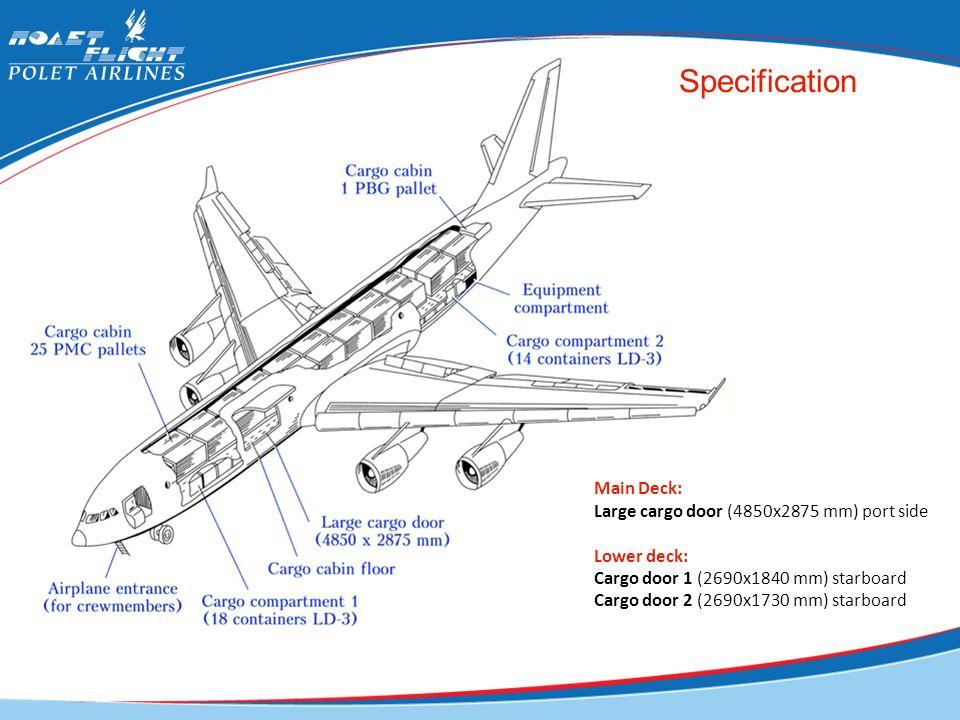 Specification Main Deck: Large cargo door (4850x2875 mm) port side