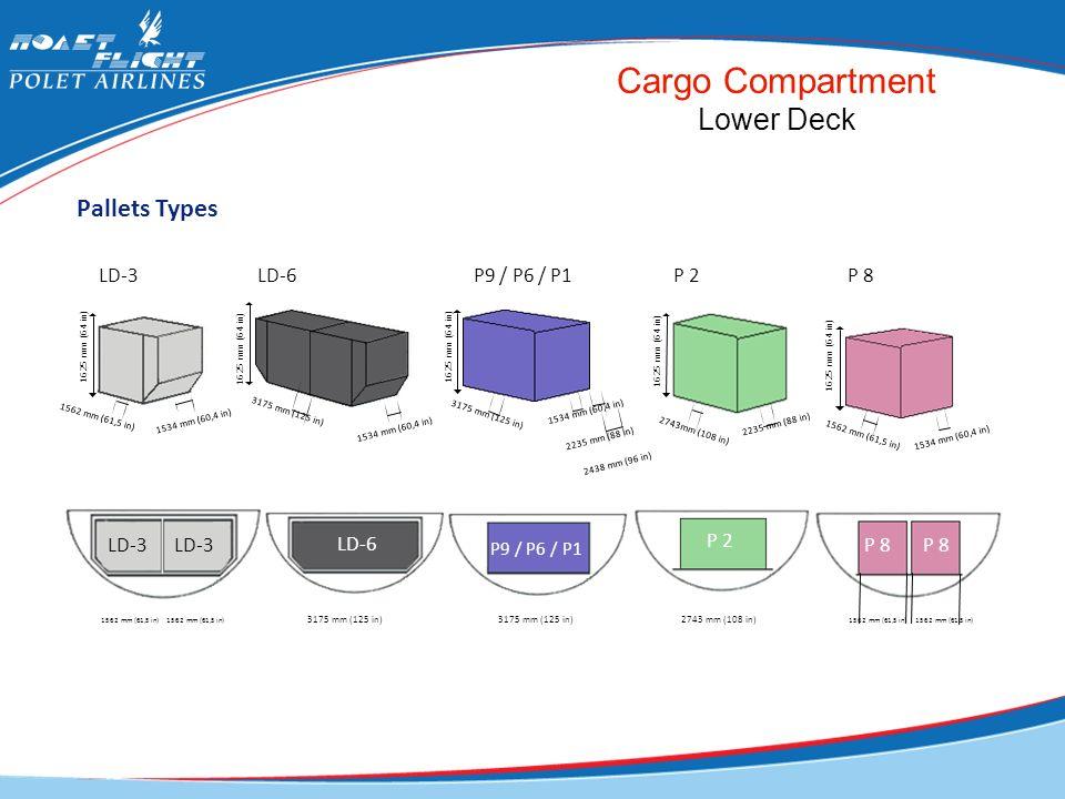 Cargo Compartment Lower Deck Pallets Types LD-3 LD-6 P9 / P6 / P1 P 2