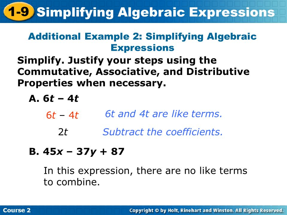 Additional Example 2: Simplifying Algebraic Expressions