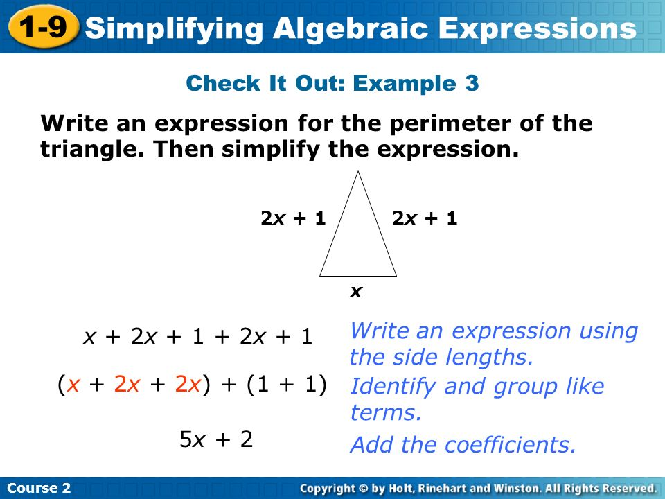 Write an expression using the side lengths. x + 2x x + 1