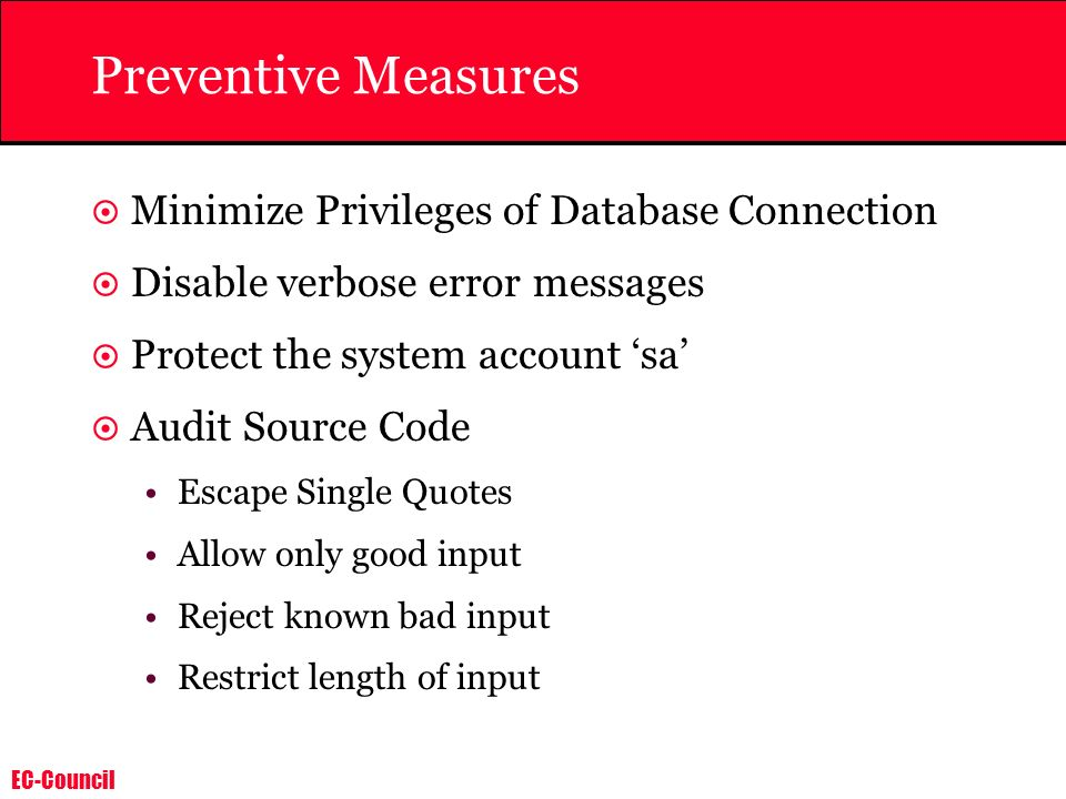 Preventive Measures Minimize Privileges of Database Connection