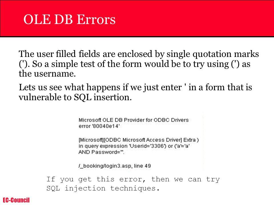 OLE DB Errors
