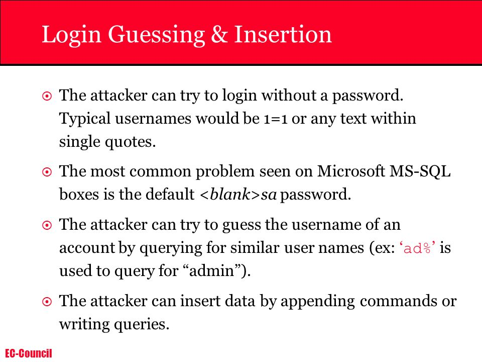 Login Guessing & Insertion
