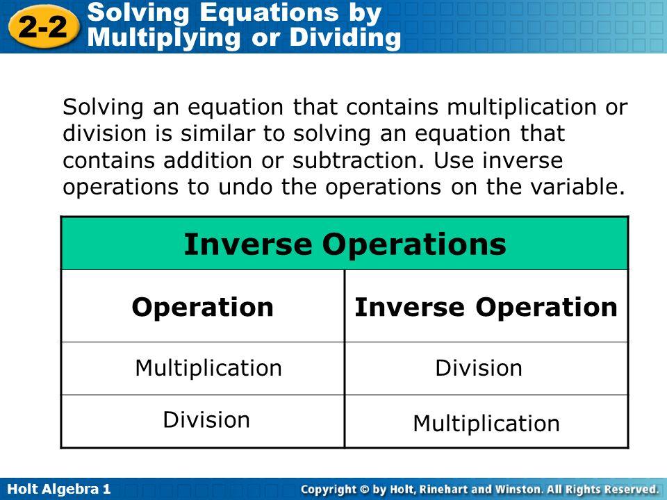 Inverse Operations Operation Inverse Operation