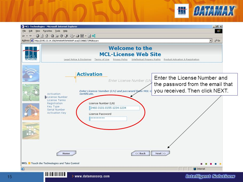 Enter the License Number and the password from the email that you received. Then click NEXT.
