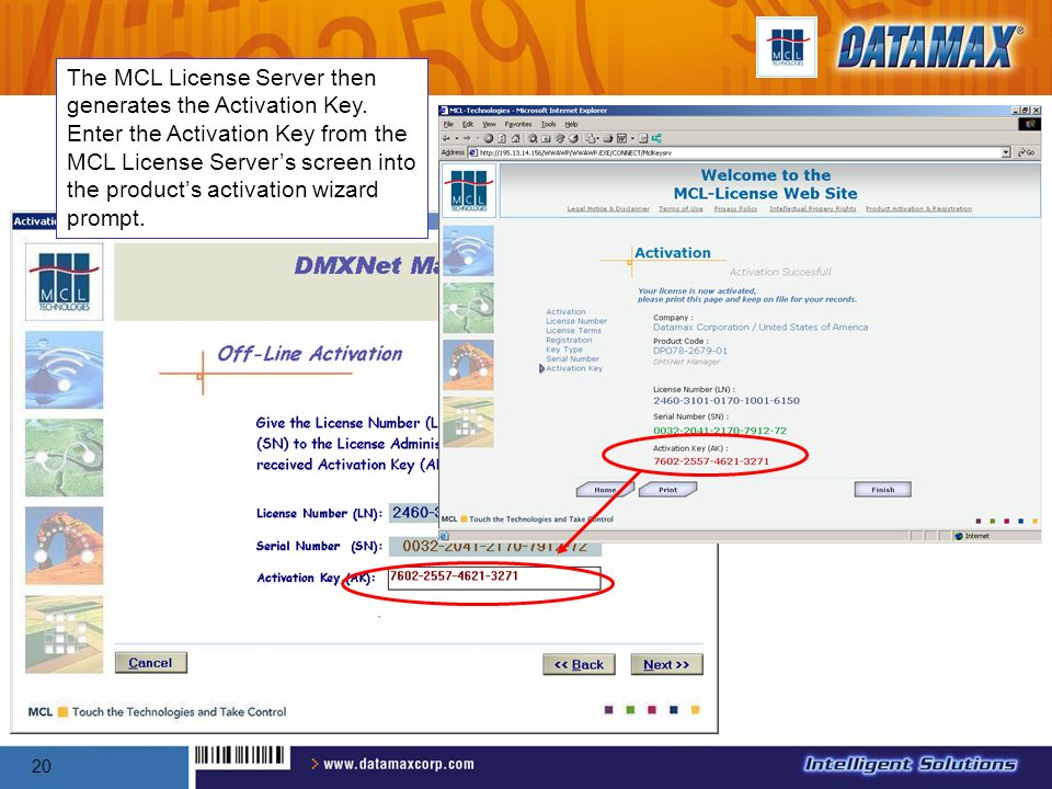 The MCL License Server then generates the Activation Key
