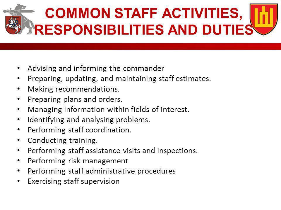 COMMON STAFF ACTIVITIES, RESPONSIBILITIES AND DUTIES