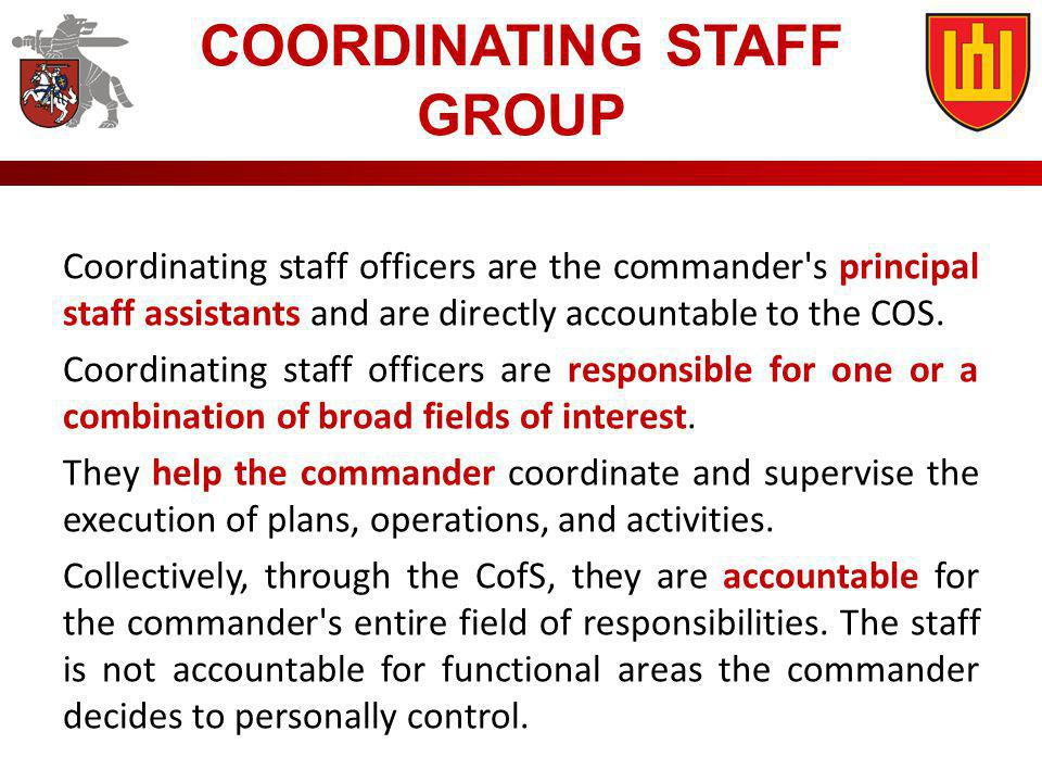 COORDINATING STAFF GROUP