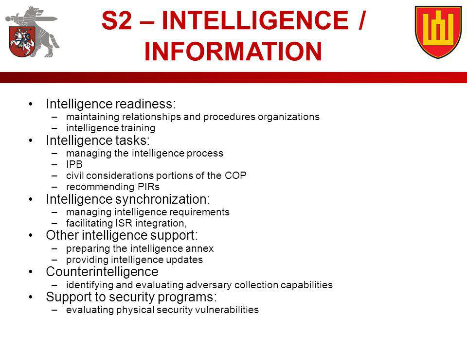 S2 – INTELLIGENCE / INFORMATION