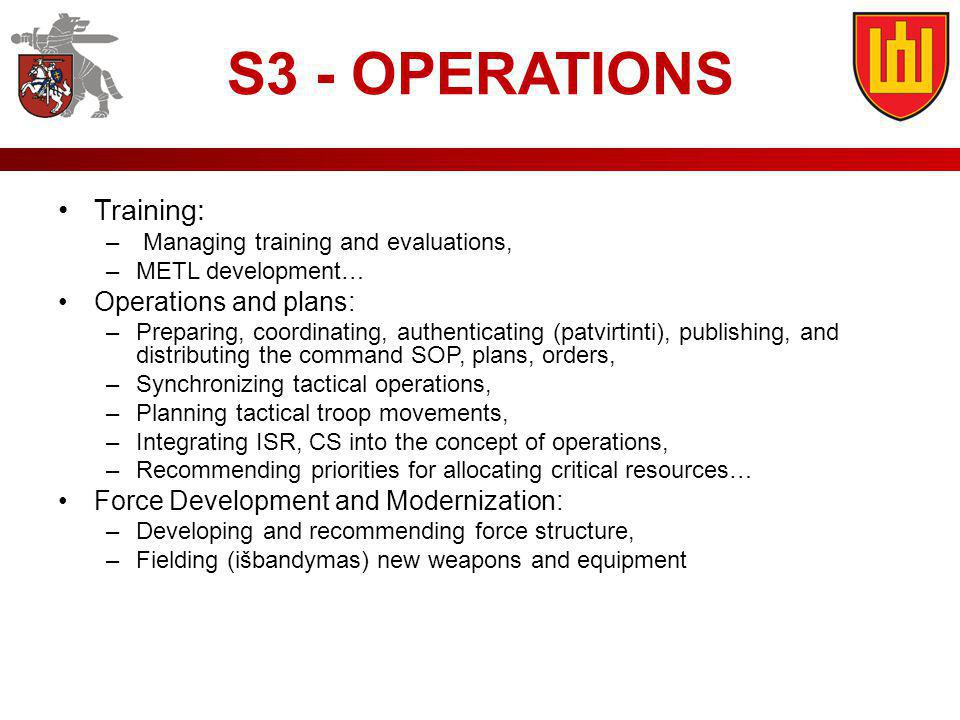 S3 - OPERATIONS Training: Operations and plans: