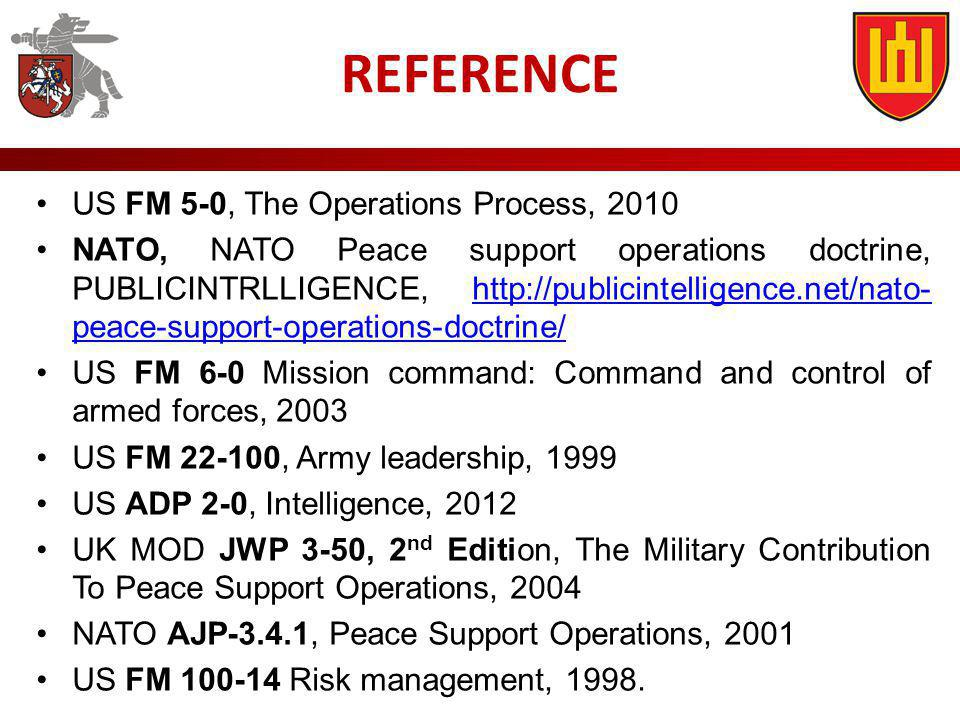 REFERENCE US FM 5-0, The Operations Process, 2010