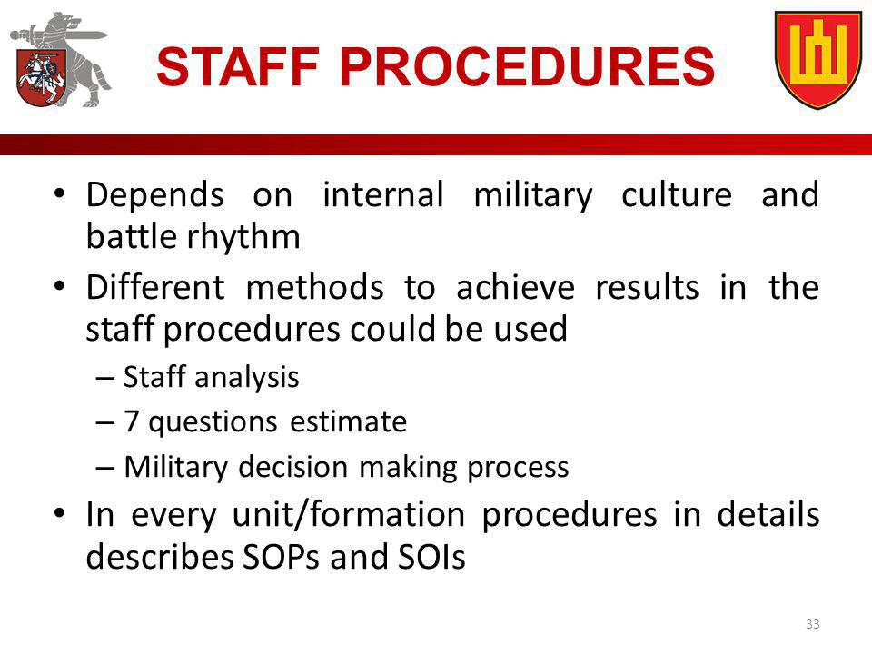 STAFF PROCEDURES Depends on internal military culture and battle rhythm. Different methods to achieve results in the staff procedures could be used.