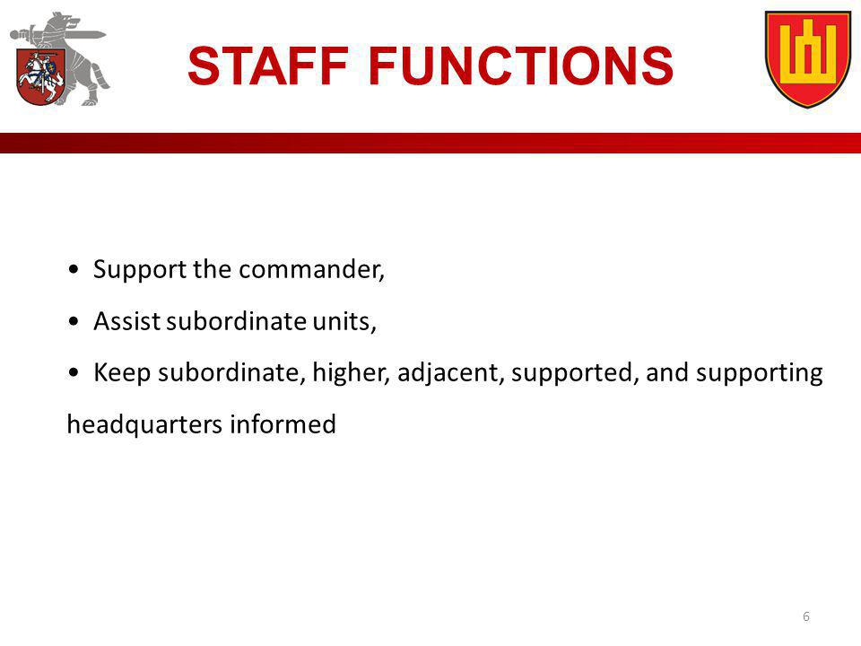 STAFF FUNCTIONS Support the commander, Assist subordinate units,
