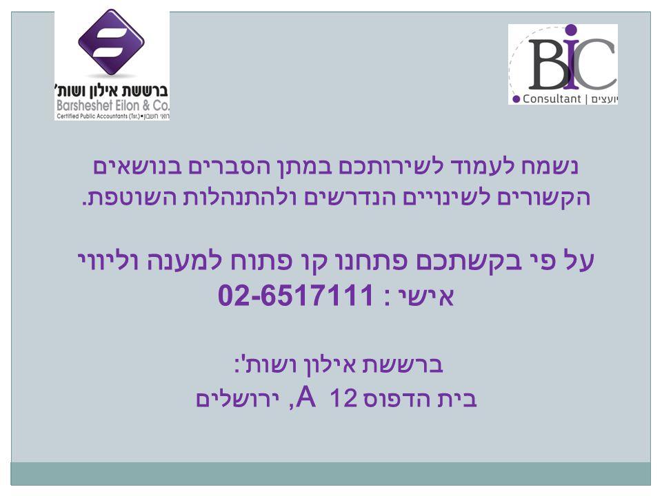 על פי בקשתכם פתחנו קו פתוח למענה וליווי אישי : 02-6517111