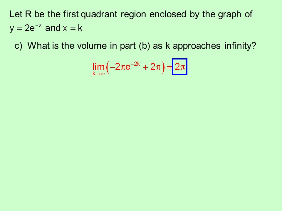 Let R be the first quadrant region enclosed by the graph of