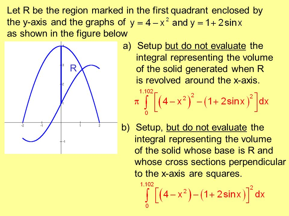 Let R be the region marked in the first quadrant enclosed by