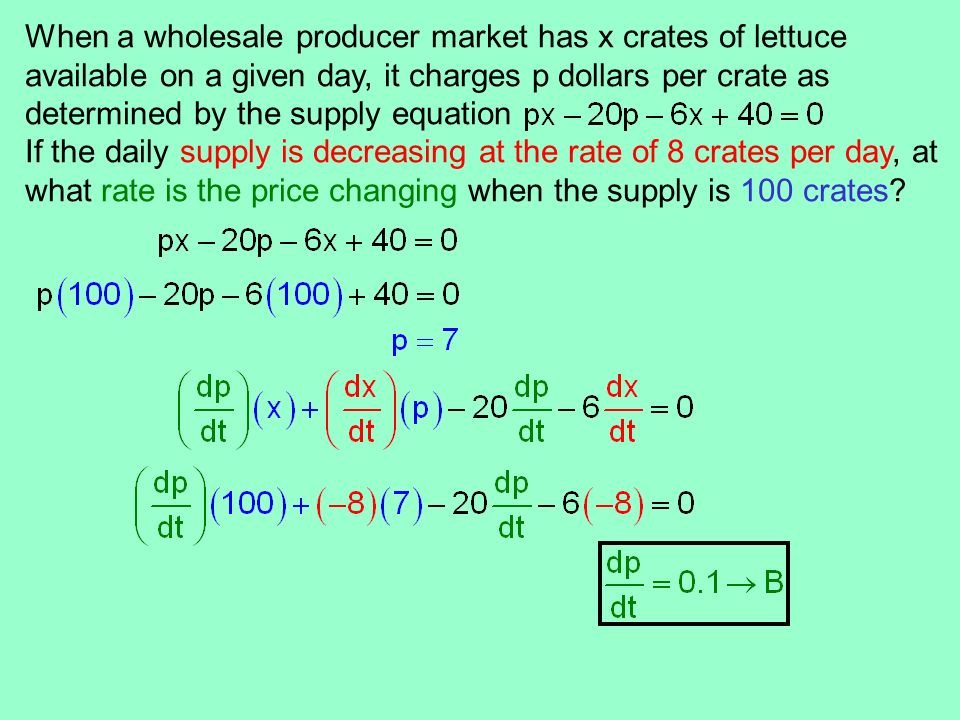 When a wholesale producer market has x crates of lettuce available on a given day, it charges p dollars per crate as determined by the supply equation
