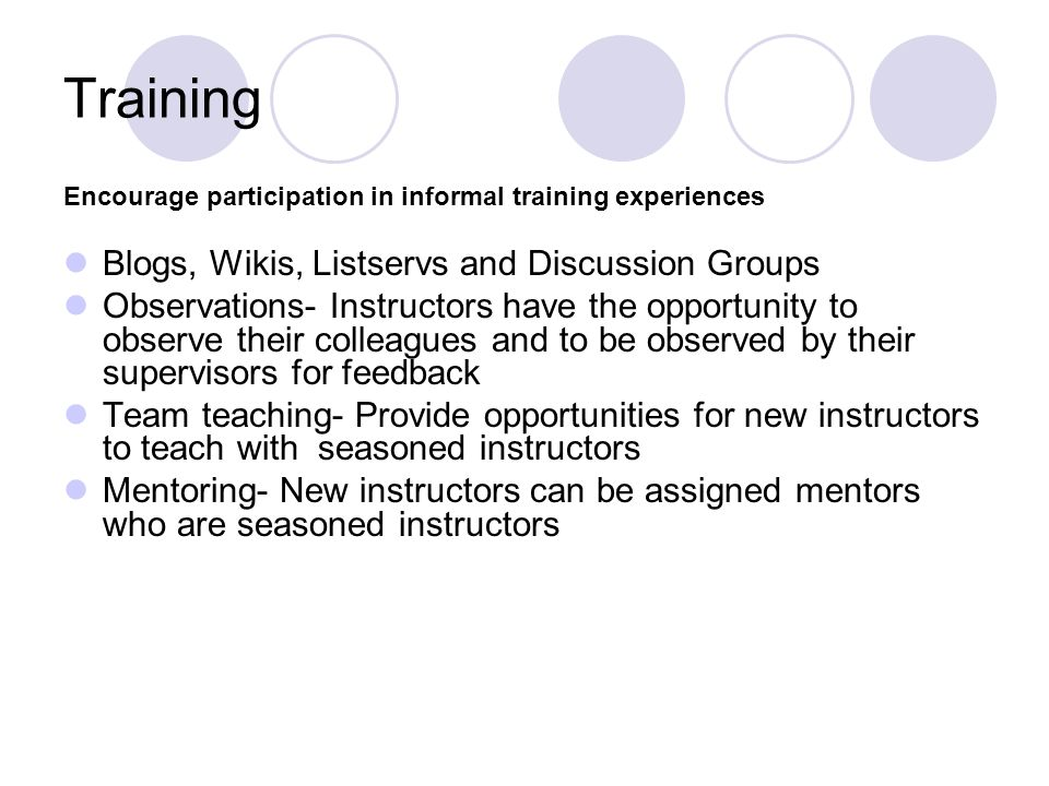 Training Blogs, Wikis, Listservs and Discussion Groups