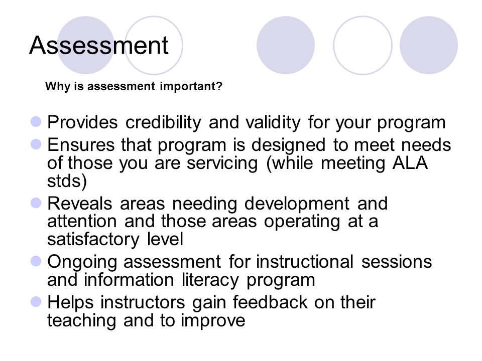 Assessment Provides credibility and validity for your program