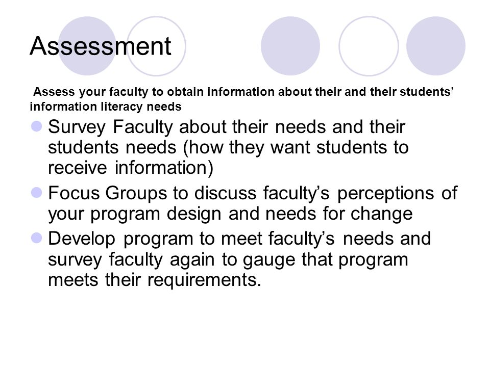 Assessment Assess your faculty to obtain information about their and their students' information literacy needs.