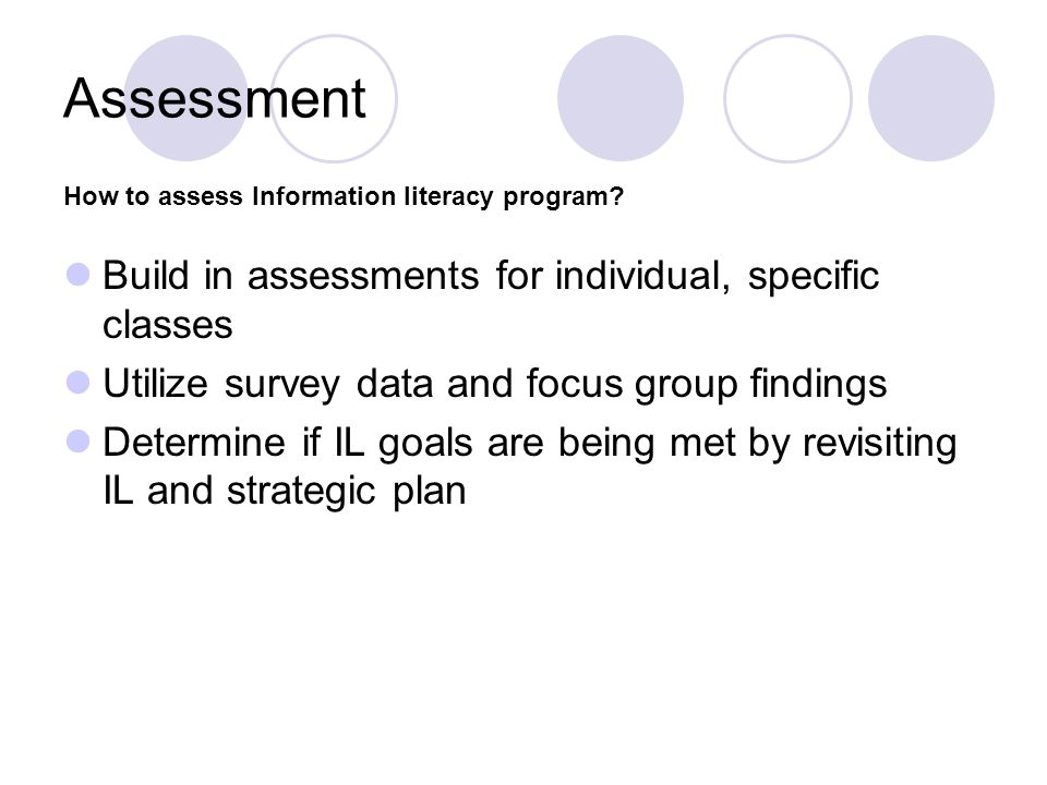 Assessment Build in assessments for individual, specific classes