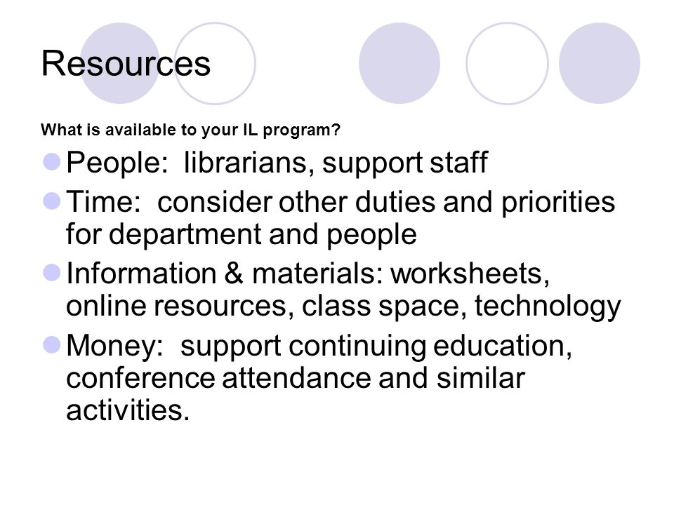 Resources People: librarians, support staff