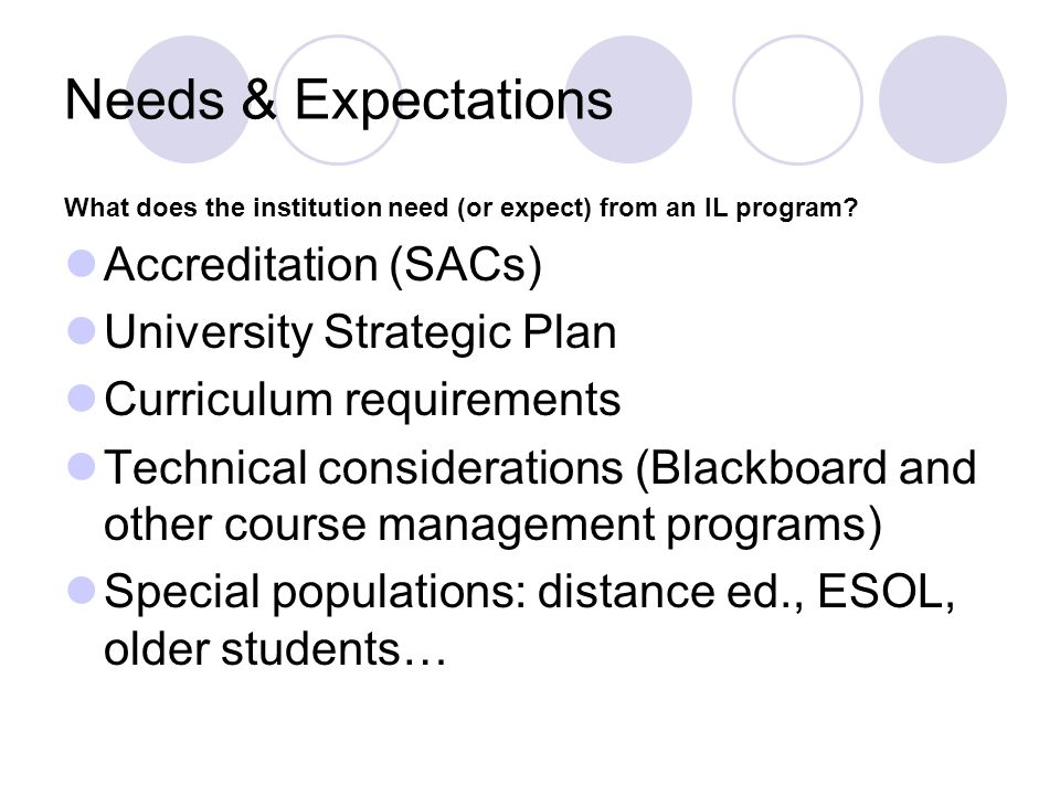 Needs & Expectations Accreditation (SACs) University Strategic Plan