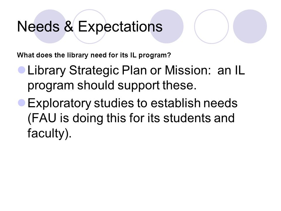 Needs & Expectations What does the library need for its IL program Library Strategic Plan or Mission: an IL program should support these.