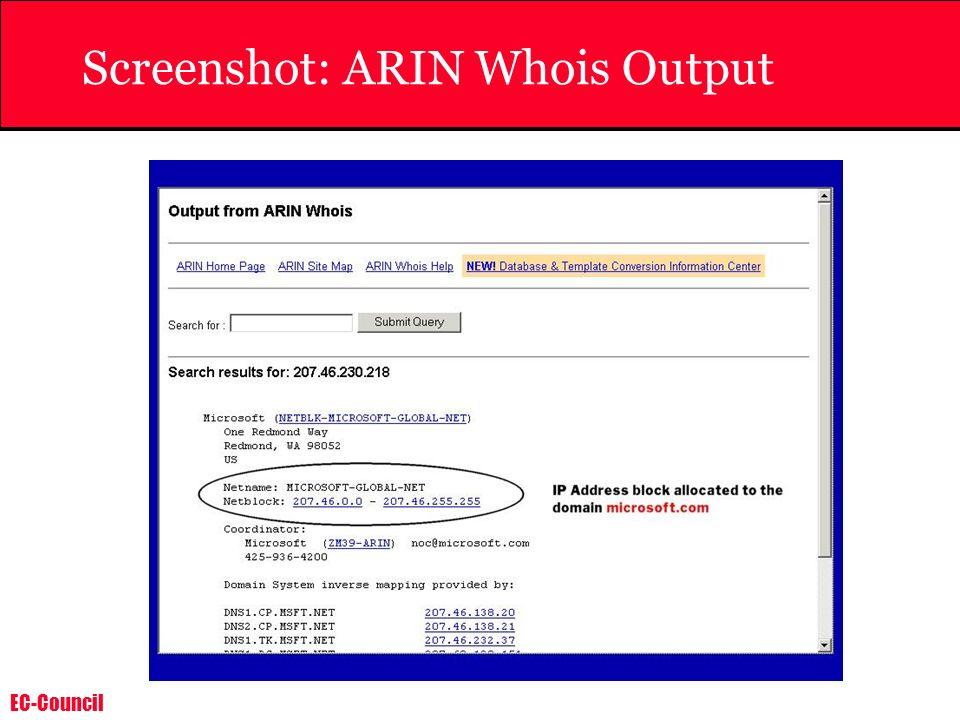 Screenshot: ARIN Whois Output